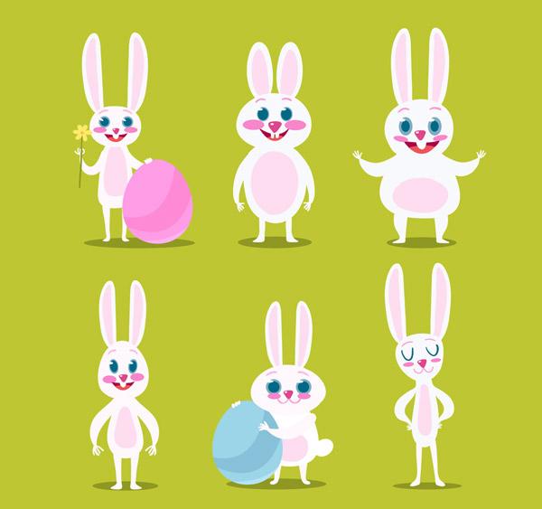 可爱,白色,复活节,彩蛋,兔子,花卉,矢量图,ai格式 下载文件特别说明