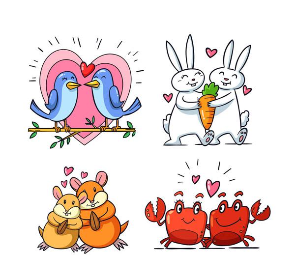 鸟,爱心,树枝,胡萝卜,兔子,松鼠,松子,螃蟹,彩绘,幸福,动物,情侣,矢量