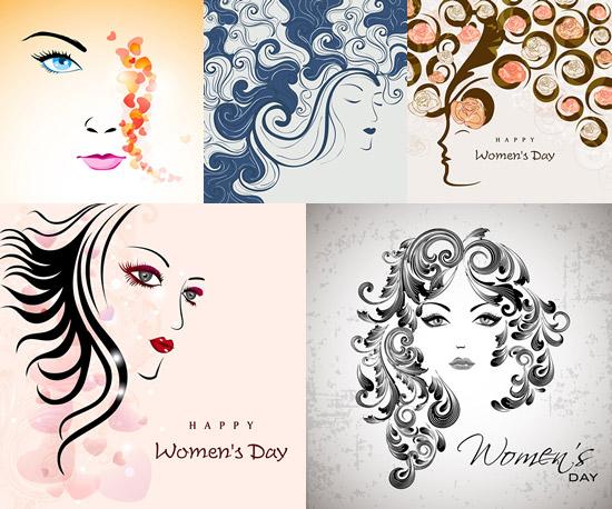 关键词: 手绘女性头像矢量素材,手绘,女性头像,花纹,眼睛,嘴唇,头发