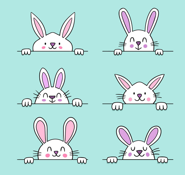 0 点 关键词: 6款可爱白色笑脸兔子矢量素材,可爱,微笑,笑脸,白色,兔