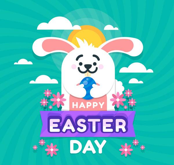 可爱,复活节,彩蛋,抱,兔子,云朵,花卉,太阳,矢量图,ai格式 下载文件