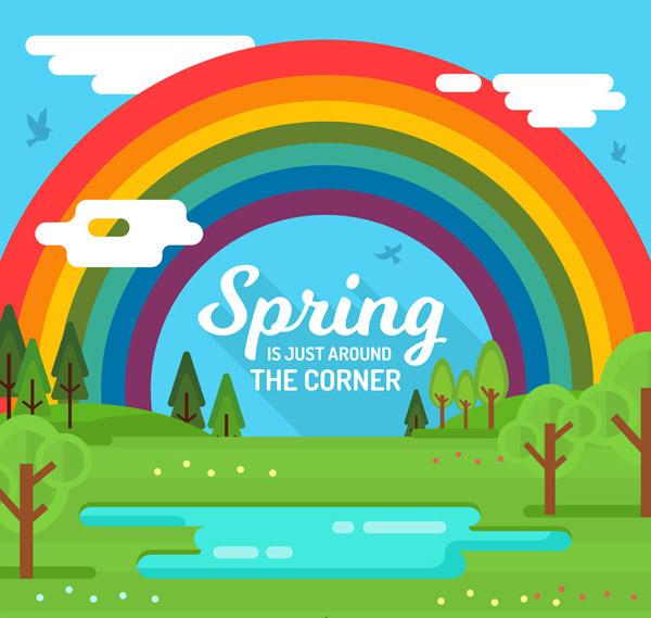 春季郊外彩虹風景