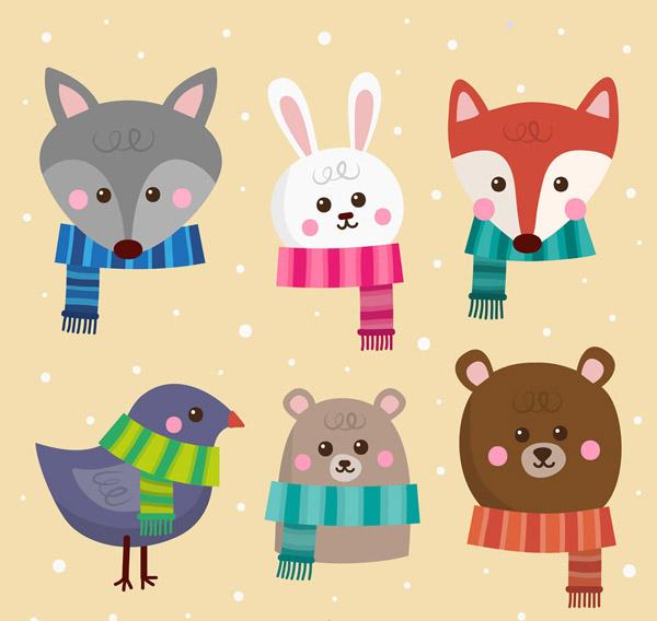 素材分类: 矢量卡通动物所需点数: 0 点 关键词: 6款冬季围巾动物