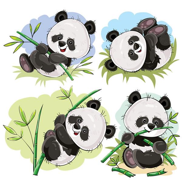 可爱熊猫和竹子图片