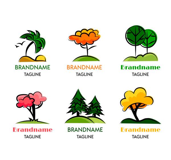 彩色树木标志