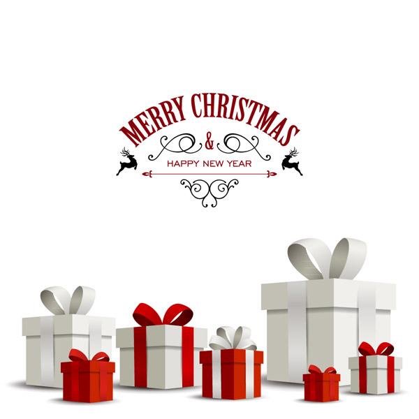 立体白色圣诞节礼物矢量图下载