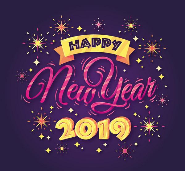 点 关键词: 创意紫色新年快乐艺术字矢量素材,条幅,烟花,2019年,创意图片