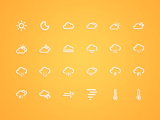 天气预报图标简笔画 天气预报气象图标