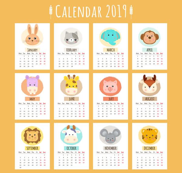 2019卡通动物日历图片