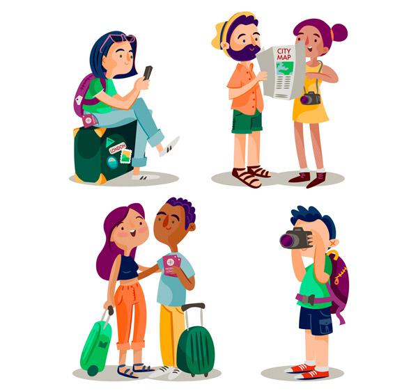 0 点 关键词: 4组创意旅行人物设计矢量图,行李箱,背包,手机,女子,男图片