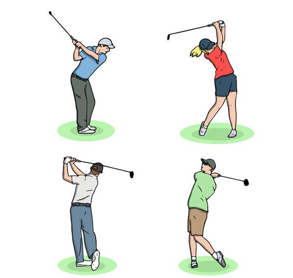 草坪,男子,女子,创意,高尔夫,人物,姿势,运动,矢量图,ai格式 下载文件