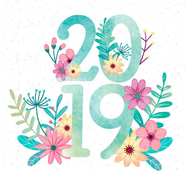 花卉装饰2019艺术字图片