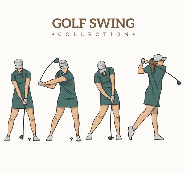 矢量体育运动所需点数: 0 点 关键词: 4款彩绘绿衣高尔夫女子动作矢量