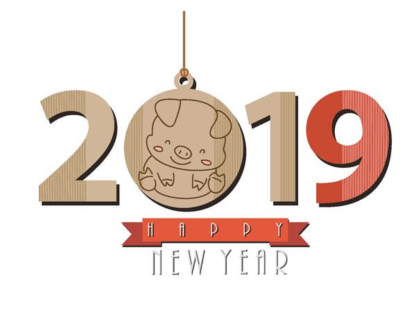 卡通猪年喜庆2019元素,手绘,卡通,木板,吊牌,春节,新年,2019,猪年,ai