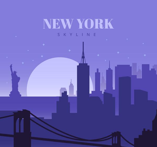 纽约日落风景剪影