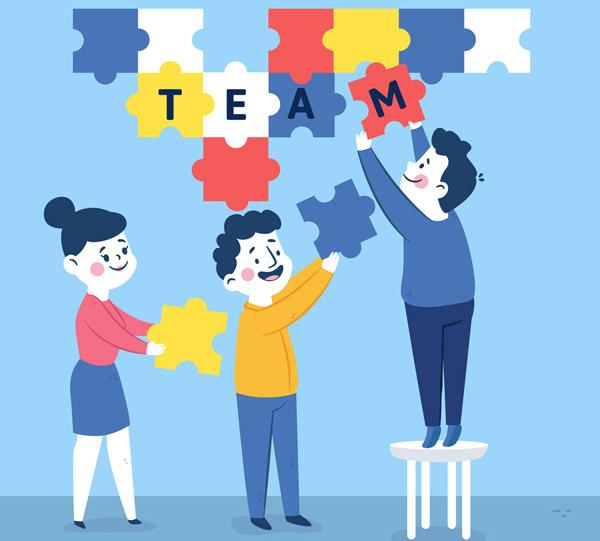 素材分类: 矢量职业人物所需点数: 0 点 关键词: 创意拼图中的团队