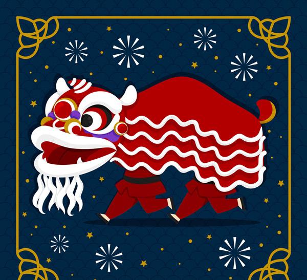 春节舞狮子矢量