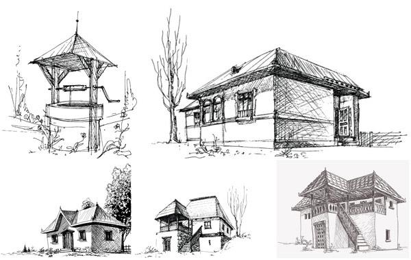 建筑素描速写