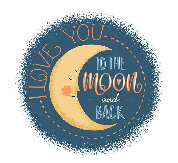 素材分类: 矢量艺术字所需点数: 0 点 关键词: 手绘月亮爱的隽语矢量