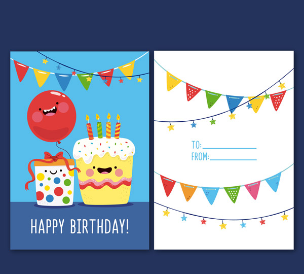 彩色蛋糕生日贺卡