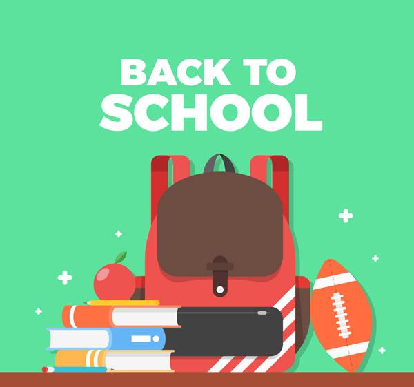 返校,书包,美式足球,书籍,课本,苹果,铅笔,开学,矢量图,ai格式 下载