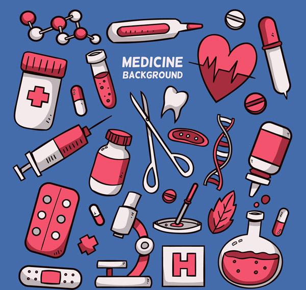 彩色医疗元素