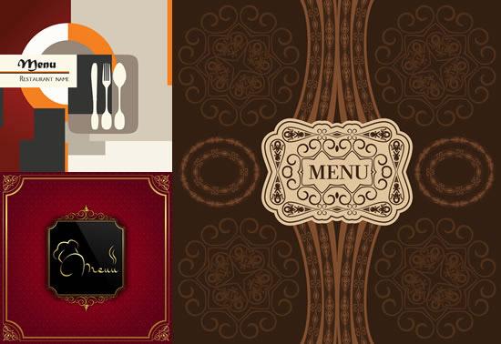 西餐厅菜单,封面背景,几何色块,边框,花纹边角,古典底纹,西餐菜谱图片