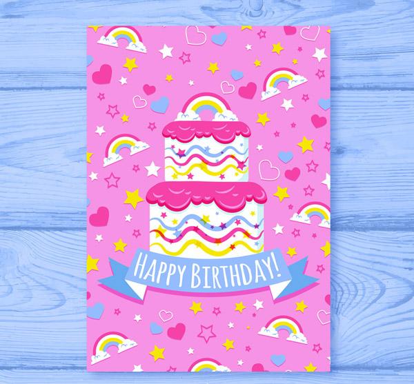 彩虹生日蛋糕祝福卡