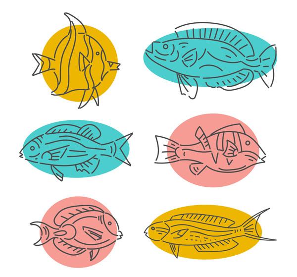 手绘鱼类设计