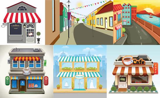 城市建筑,街道,店铺,咖啡屋,蛋糕店,楼房图片素材,免费建筑eps矢量