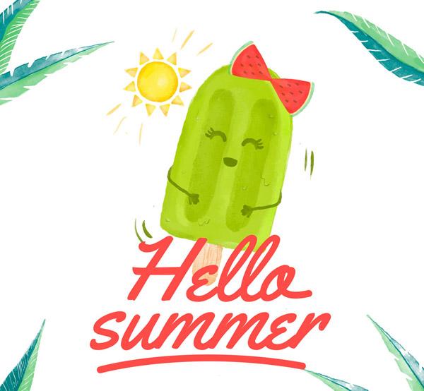 夏季绿色雪糕