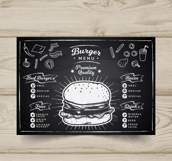 素材分类: 平面广告所需点数: 0 点 关键词: 创意汉堡包店黑板画菜单