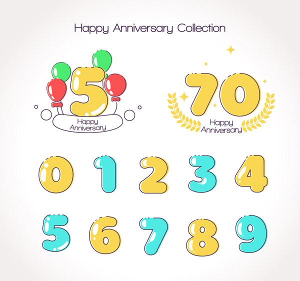 彩色周年纪念数字