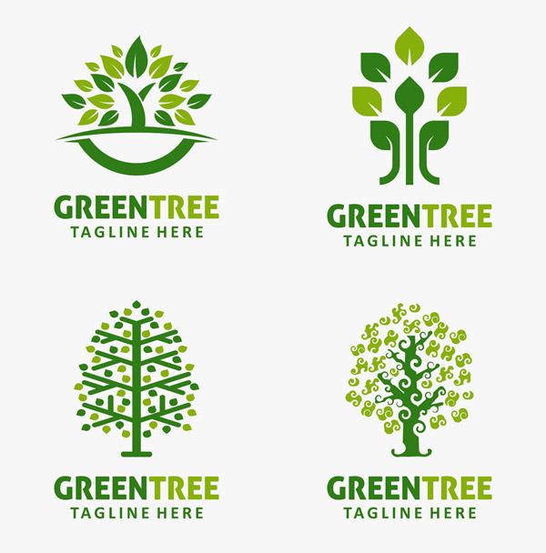 绿叶与树木标志