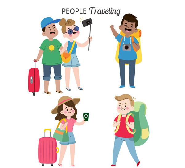 卡通旅行人物图片