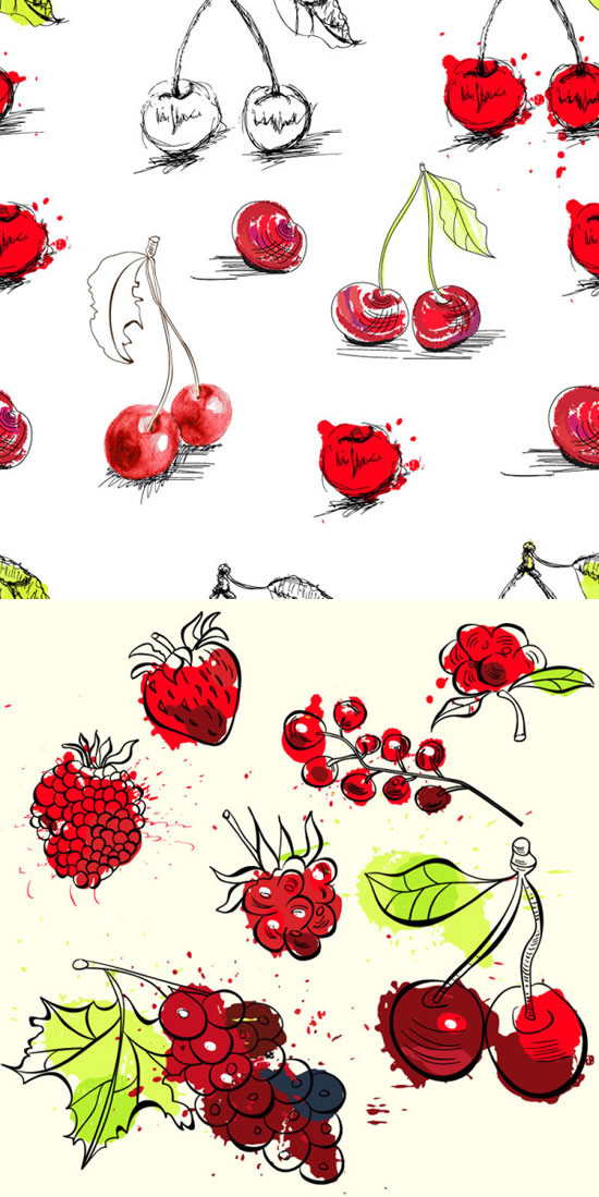 彩绘水果插图_素材中国sccnn.com