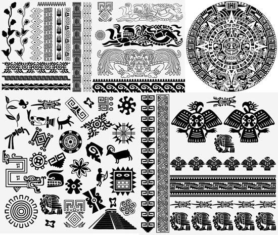 古典埃及花纹矢量素材,古典花纹,埃及纹样,花边,边框,剪影,图腾,线稿