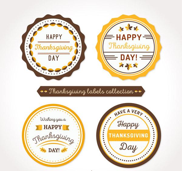 圆形感恩节标签