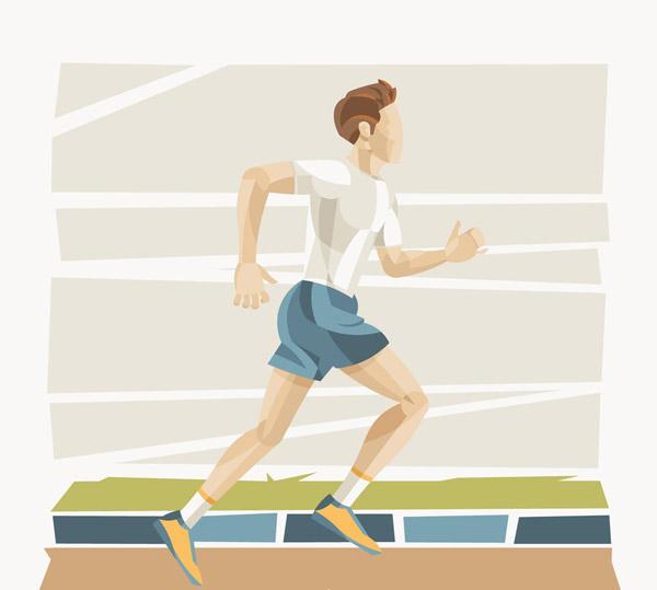 彩绘跑步健身的男子