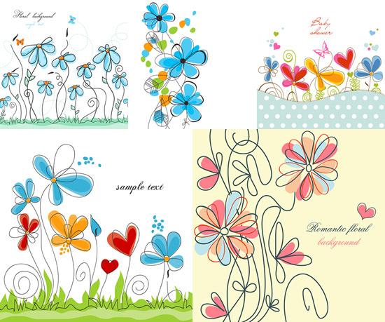 简单手绘,花卉线稿,线描鲜花,蝴蝶,花朵,心形,彩绘花卉图片素材,免费