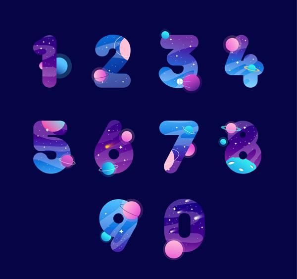 彩色宇宙元素数字