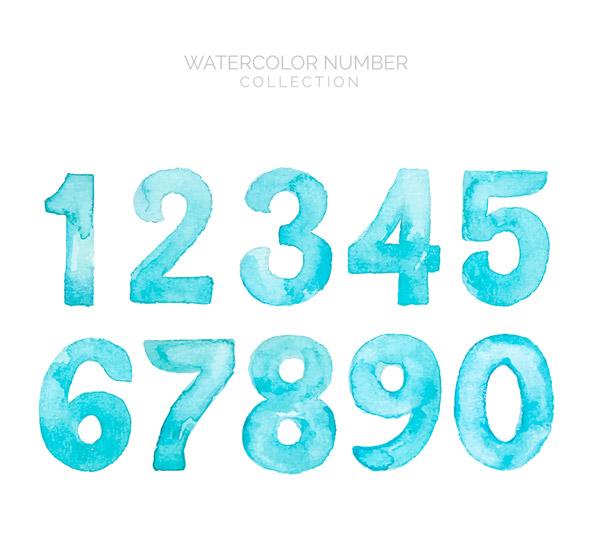 水彩绘蓝色数字