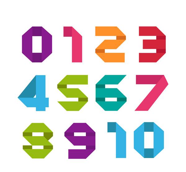 11款彩色折纸数字