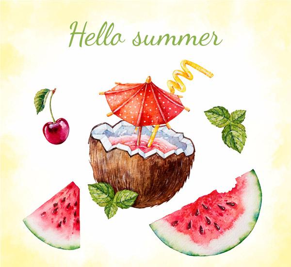 水彩绘夏季水果