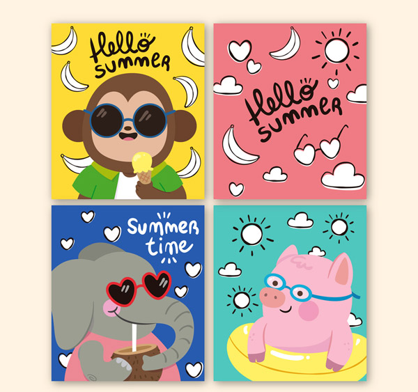 彩绘夏季动物卡片