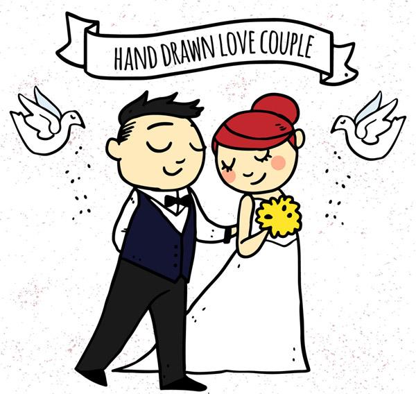 婚礼新人和白鸽