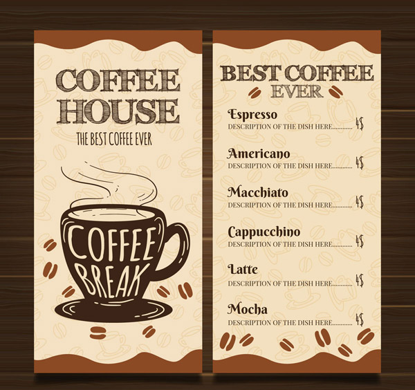 手绘咖啡馆菜单