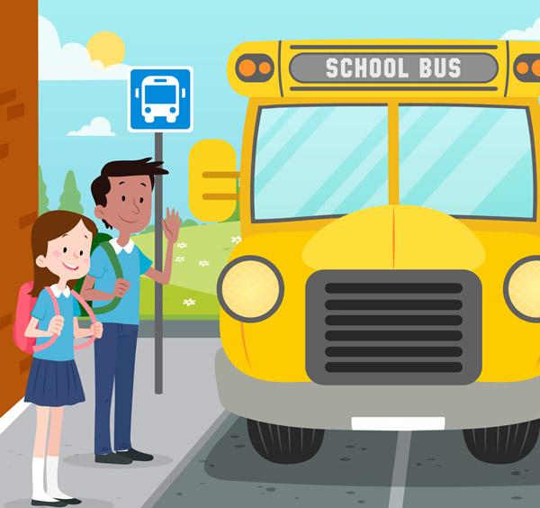 学生和校车矢量