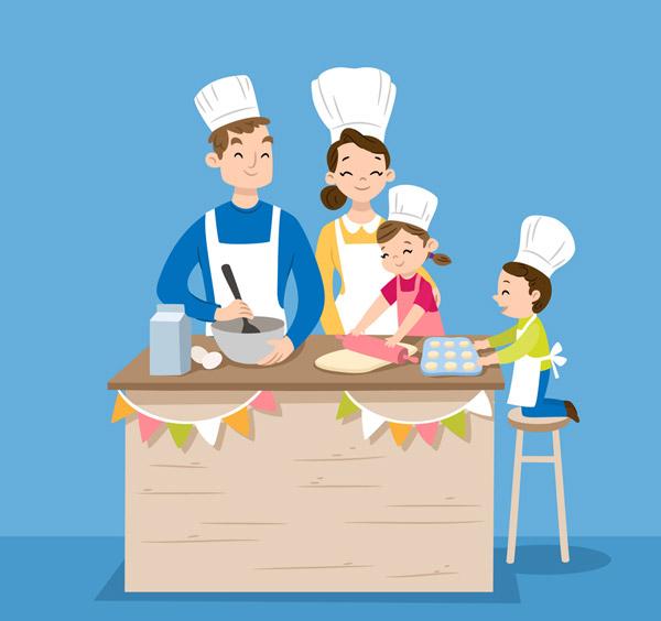 做蛋糕的四口之家图片