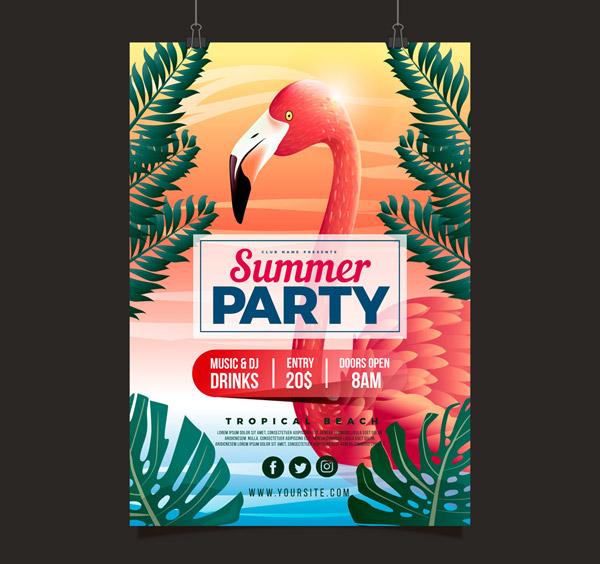 火烈鸟夏季派对传单